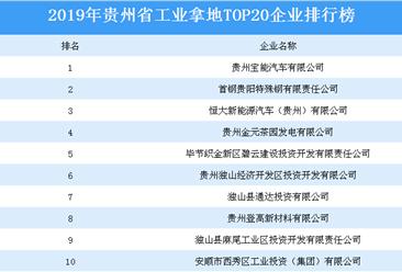 产业地产投资情报:2019年贵州省工业拿地top20企业排名(土地篇)