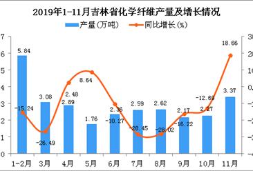 2019年1-11月吉林省化学纤维产量为29.18万吨 同比下降5.29%
