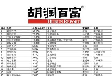 2019胡润中国500强民营企业排行榜top100(附榜单)