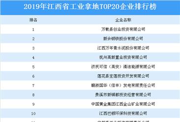 产业地产投资情报:2019年江西省工业拿地top20企业排名(土地篇)