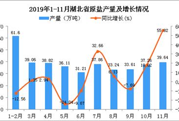 2019年1-11月湖北省原盐产量为388.62万吨 同比增长1.71%