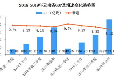 2019年云南省经济运行情况分析:gdp同比增长8.1%(附图表)