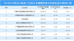 2019年中国动力锂离子电池企业磷酸铁锂电池装机量20强排行榜