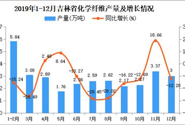 2019年吉林省化学纤维产量为32.18万吨 同比下降5.99%