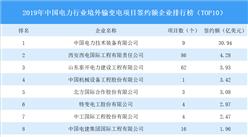 2019年中国电力行业境外输变电项目签约额企业排行榜(TOP10)