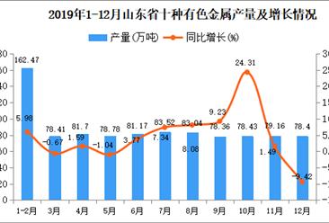 2019年山东省十种有色金属产量同比增长4.41%