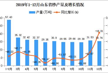 2019年山东省纱产量为353.43万吨 同比下降49.76%
