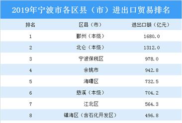2019年宁波市各区县(市)进出口贸易排行榜