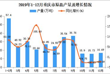 2019年重庆市原盐产量为284.13万吨 同比增长32.86%