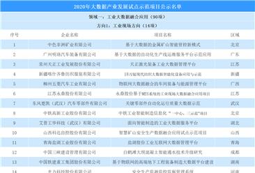 2020年大数据产业发展试点示范项目名单公示:四大领域7个方向(附完整名单)