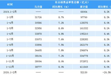 2020年1-2月全国社会消费品零售情况分析:零售额同比下降20.5%(附图表)