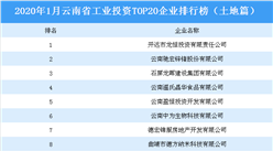 產業地產投資情報:2020年1月云南省工業投資TOP20企業排名(土地篇)