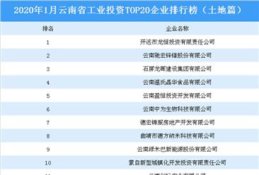 产业地产投资情报:2020年1月云南省工业投资top20企业排名(土地篇)
