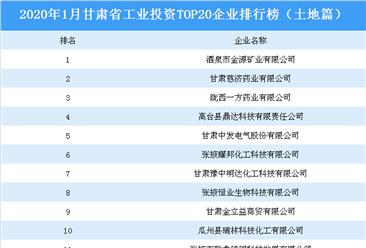 产业地产投资情报:2020年1月甘肃省工业投资top20企业排名(土地篇)