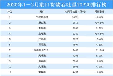 2020年1-2月港口货物吞吐量top20排行榜