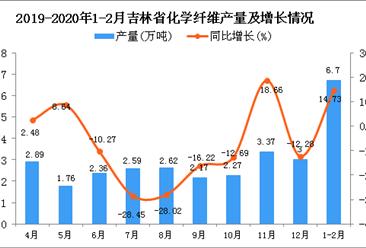 2020年1-2月吉林省化学纤维产量及增长情况分析