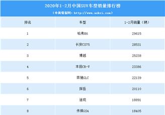 2020年1-2月中国SUV车型销量排行榜