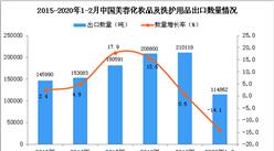 2020年1-2月中国美容化妆品及洗护用品出口量同比下降14.1%