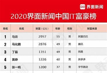 2020中国it富豪排行榜:马云第一 丁磊第三(图)