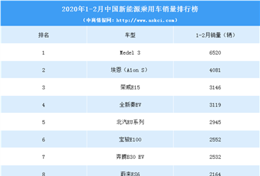 2020年1-2月中国新能源汽车销量排行榜