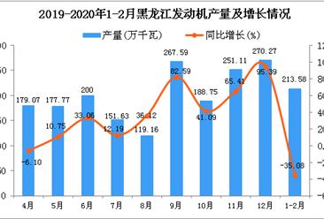 2020年1-2月黑龙江省发动机产量为213.58万千瓦 同比下降35.08%