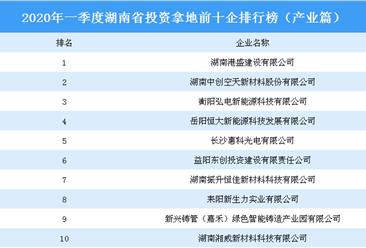 2020年一季度湖南省投资拿地前十企排行榜(产业篇)