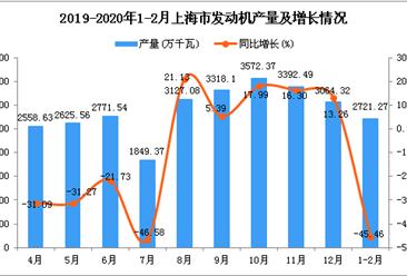 2020年1-2月上海市发动机产量同比下降45.46%