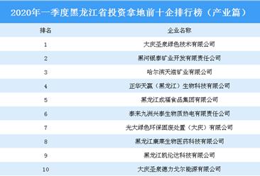 2020年一季度黑龙江省投资拿地前十企排行榜(产业篇)