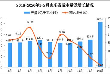 2020年1-2月山东省发电量及增长情况分析