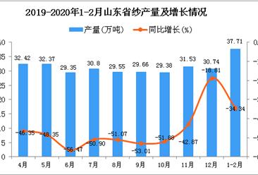 2020年1-2月山东省纱产量为37.71万吨 同比下降34.34%