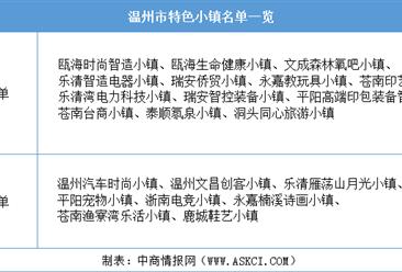 浙江2020年省級特色小鎮申報:溫州市特色小鎮名單一覽(附表)
