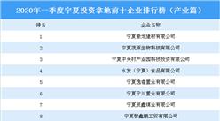 2020年一季度宁夏投资拿地前十企业排行榜(产业篇)