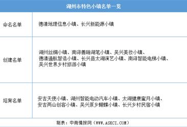 浙江2020年省级特色小镇申报:湖州市特色小镇名单一览(附表)