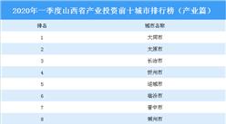 2020年一季度山西省产业投资前十城市排名(产业篇)