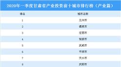 2020年一季度甘肃省产业投资前十城市排名(产业篇)