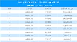 2020年化石能源行业上市公司营业收入排行榜(附排名)