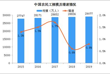 2019年全国农民工大数据统计:总量2.91亿人 月收入3962元(图)