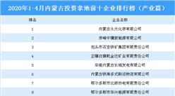 2020年1-4月内蒙古投资拿地前十企业排行榜(产业篇)