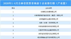 2020年1-4月吉林省投资拿地前十企业排行榜(产业篇)