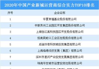 2020年中国产业新城运营商综合实力排行榜(TOP10)