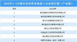 2020年1-4月湖北省投资拿地前十企业排行榜(产业篇)