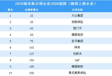2020福布斯全球企业2000强榜(德国上榜企业)