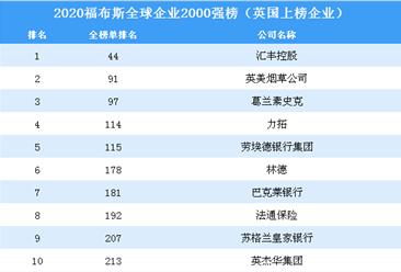 2020福布斯全球企业2000强榜(英国上榜企业)