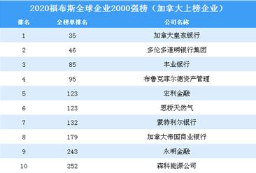 2020福布斯全球企业2000强榜(加拿大上榜企业)