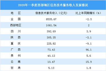 2020年一季度西部省市信息技术服务行业发展情况对比分析(图)