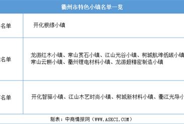 浙江2020年省级特色小镇申报:衢州市特色小镇名单一览(附表)