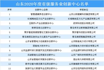 2020年度山东省级服务业创新中心名单:共27家创新中心上榜(附详细名单)