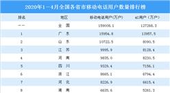2020年1-4月全國各省市移動電話用戶數量排行榜:廣東第一 山東第二(圖)