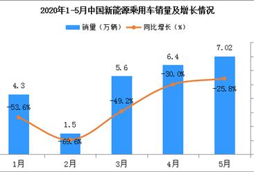 2020年5月新能源乘用车销量7.02万辆 同比下降25.8%(图)