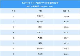 2020年1-5月中国MPV车型销量排行榜